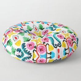 Colorful oriental watercolor floral pattern. Floor Pillow
