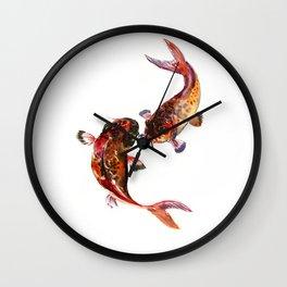 Two Koi, Feng Shui Art Koi Fish Wall Clock