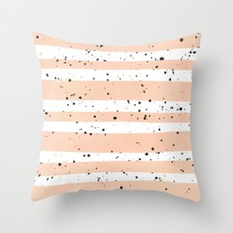 Modern coral watercolor stripes black splatters Throw Pillow