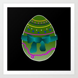 Egg green and blue Bow 03 Art Print