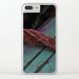 Red rope wrapped around wooden boat used on the river Ganges Clear iPhone Case