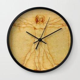"""Leonardo da Vinci """"The Vitruvian Man"""" Wall Clock"""