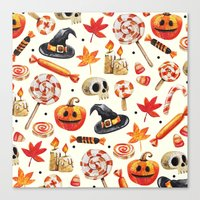 halloween Canvas Prints featuring halloween by Ceren Aksu Dikenci