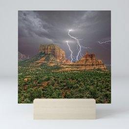 Double Lightning between Courthouse Butte and Bell Rock in Sedona AZ Mini Art Print