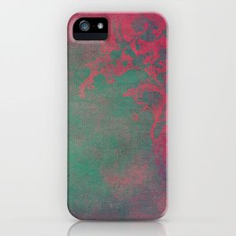 Grunge Garden Canvas Texture:  Pink and Teal Floral iPhone Case