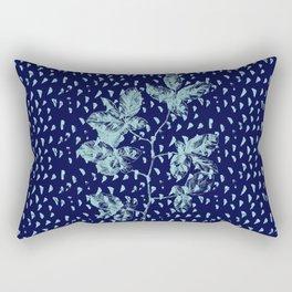 Navy and aqua blue faux glitter raindrops and foliage Rectangular Pillow