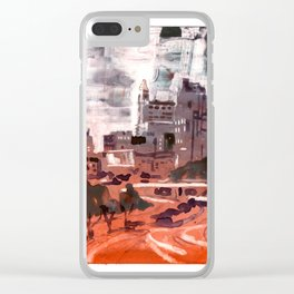 Watercolor painting  of skyline of downtown Raleigh, NC Clear iPhone Case