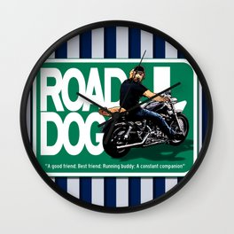 Road Dog Road Sign Wall Clock