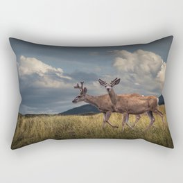 Mule Deer with Velvet Antlers in the Bighorn Mountains Rectangular Pillow