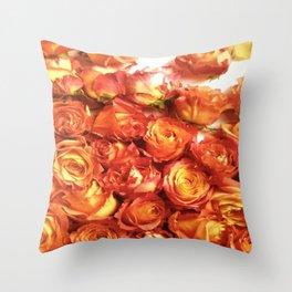Cluster Of Orange Roses Throw Pillow