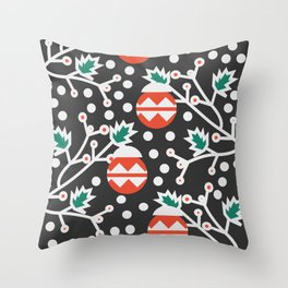 Mistletoe and Christmas ornament Throw Pillow
