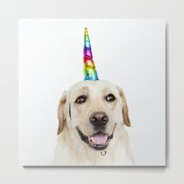 Funny Cute Unicorn Labrador Metal Print