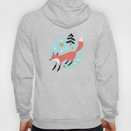 Red foxes in the blue winter forest with snow Hoody