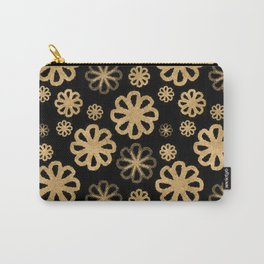 Glitter Sand Flower Pattern-Gold&Black Carry-All Pouch