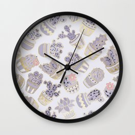 Elegant modern faux gold lavender pink cactus floral Wall Clock