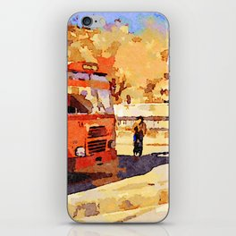 Aleppo: buses and child riding a bicycle iPhone Skin