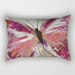 Golden Rose Butterfly Rectangular Pillow