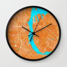 Rostock, Germany, Gold, Blue, City, Map Wall Clock