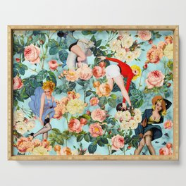 Floral and Pin Up Girls II Pattern Serving Tray
