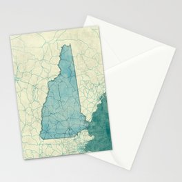 New Hampshire State Map Blue Vintage Stationery Cards
