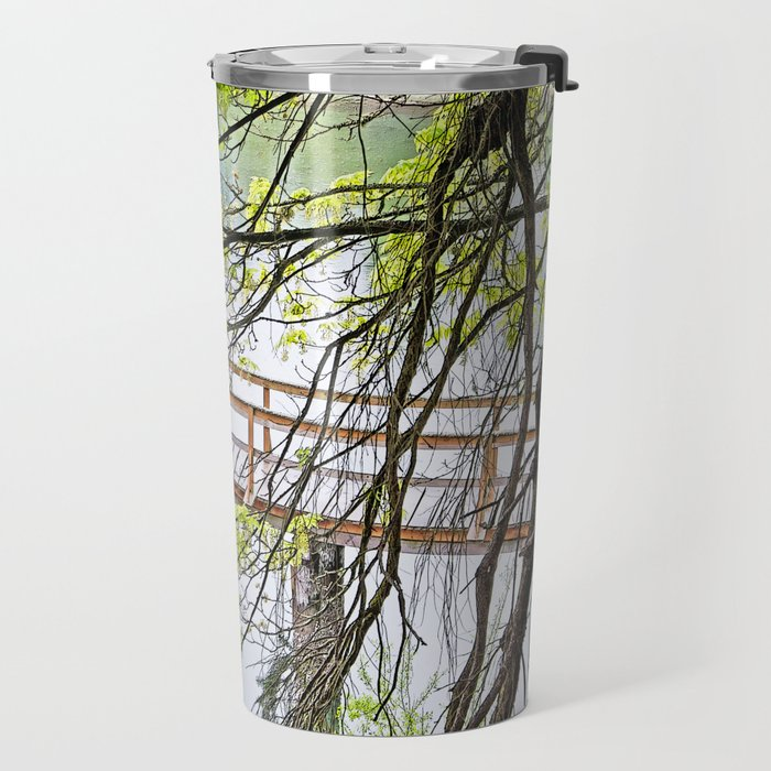 RAINY SPRING DAY AT THE DOCK IN THE WOODS Travel Mug