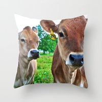 cows Throw Pillows featuring Cows by Chris Klemens