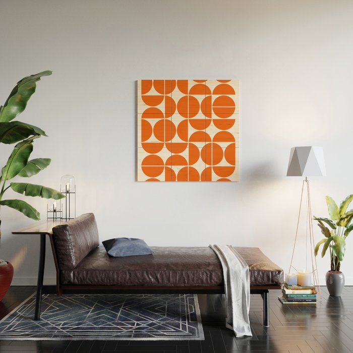Mid Century Modern Geometric 04 Orange Wood Wall Art
