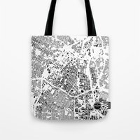los angeles Tote Bags featuring LOS ANGELES by Maps Factory