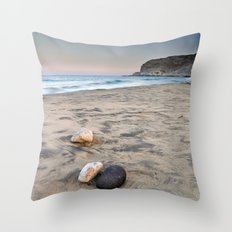 Tree rocks on the sand Throw Pillow