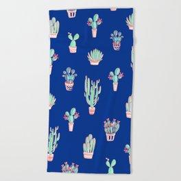 Little cactus pattern - Princess Blue Beach Towel