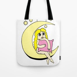 Girl on the Moon (colour version) Tote Bag
