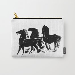 Black and White Horse Print Carry-All Pouch