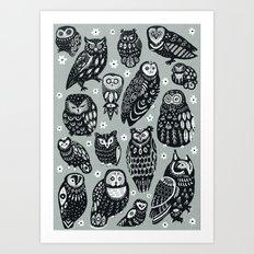 Flock of Owls Art Print