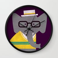 preppy Wall Clocks featuring Rodney the preppy elephant by Picomodi