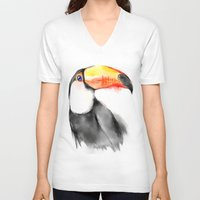 toucan V-neck T-shirts featuring Toucan by akaori_art
