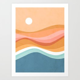 Rainbow Waves Seascape Art Print
