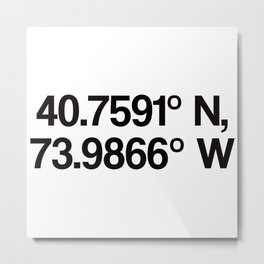 Coordinates of the Richard Rogers Theater - Home of Hamilton: The American Musical Metal Print