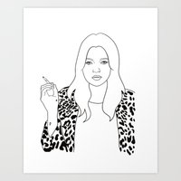 kate moss Art Prints featuring Kate Moss by Whiteland