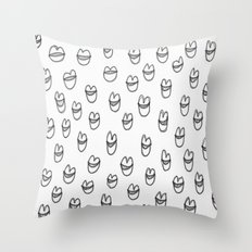 lips in grey Throw Pillow