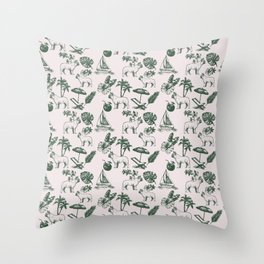 Tropical Dogs Throw Pillow