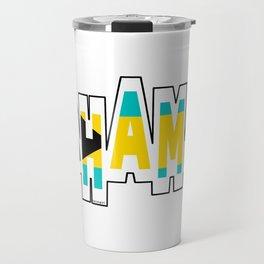 Bahamas Font with Bahamian Flag Travel Mug