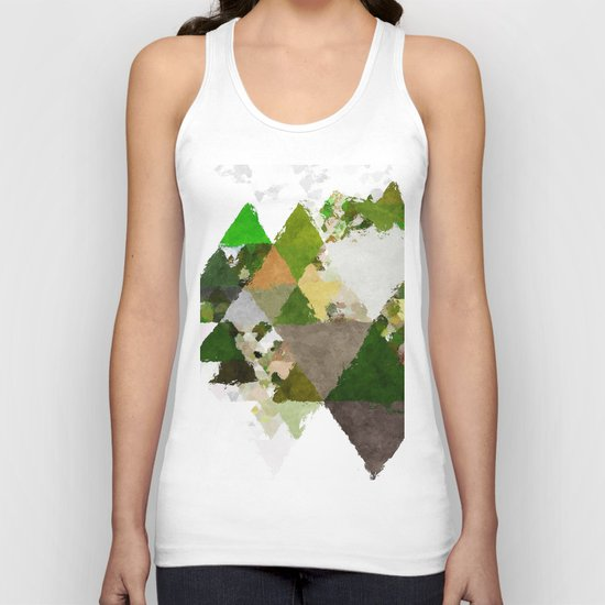 Spring Triangles - Fresh green and white triangle pattern - Greenery on #Society6 Unisex Tank Top