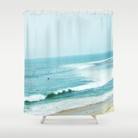 pacific rim Shower Curtains featuring Pacific by A. Williams