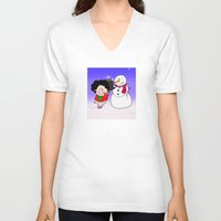 snowman V-neck T-shirts featuring Snowman by Afro Pig