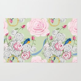 Shabby Chic Bluebirds and Roses Rug