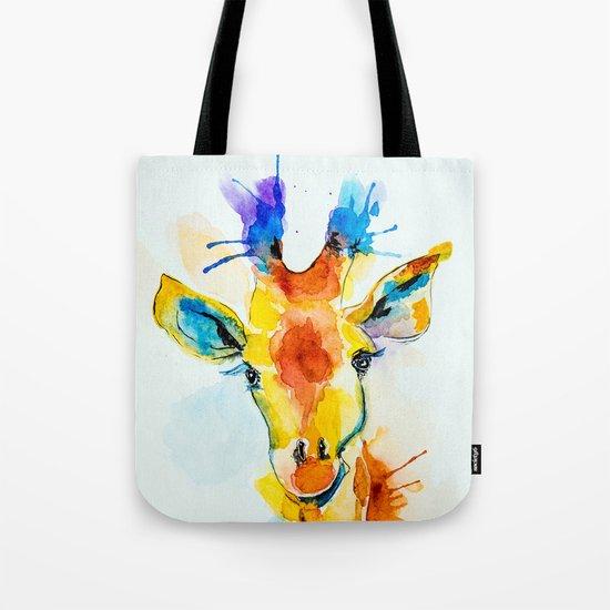 bright giraffe Tote Bag