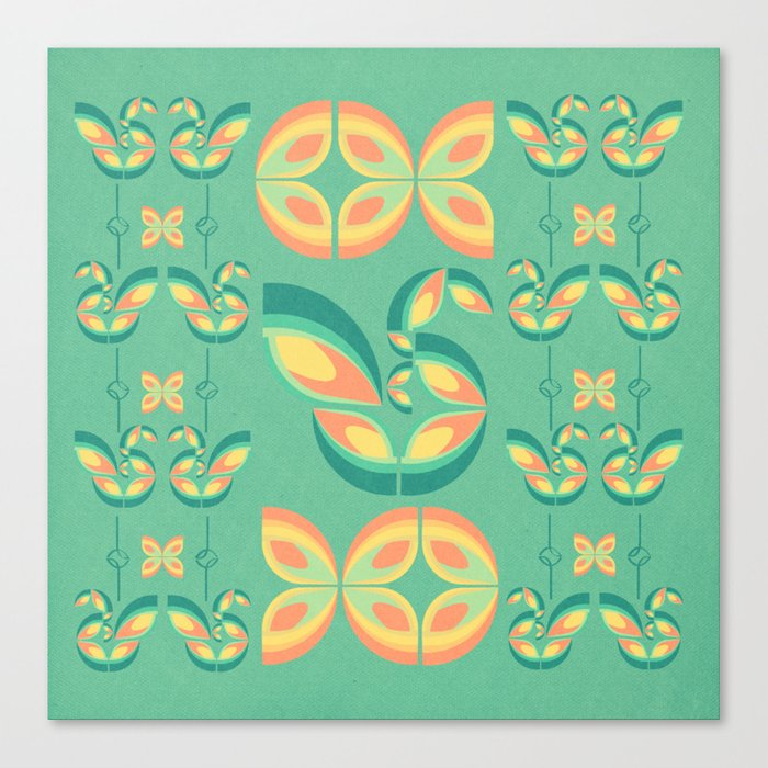 Peacocks and Butterflies Canvas Print