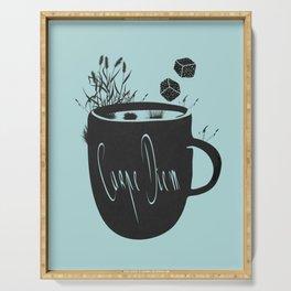 Carpe diem coffee in nature Serving Tray