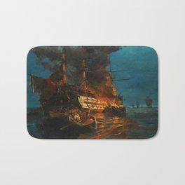 The Burning of a Turkish Frigate Bath Mat