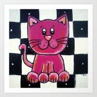 BW VIOLET cat Art Print